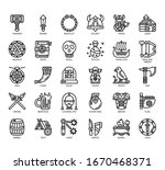 set of viking thin line and... | Shutterstock .eps vector #1670468371