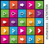 arrow sign icon set. simple... | Shutterstock . vector #167047034