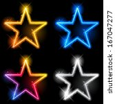 Vector   Glowing Neon Stars Se...