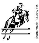 show jumping horseman design  ... | Shutterstock .eps vector #167047445