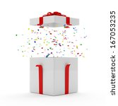 Opened Gift Box with Confetti inside over white background - stock photo