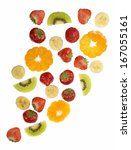 collection of fruit isolated on ... | Shutterstock . vector #167055161