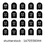 cute black ghost emoji ... | Shutterstock .eps vector #1670558344