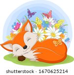 Cute Baby Fox Sleeping In The...