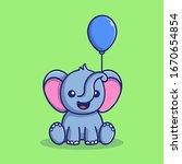 Cute Elephant Balloon Vector...