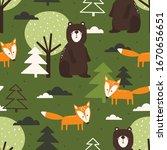 seamless pattern  bears  foxes  ...   Shutterstock .eps vector #1670656651