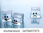 Ice Cubes With Drawn Faces On...