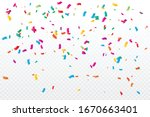 many falling colorful confetti... | Shutterstock .eps vector #1670663401
