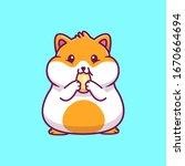 Cute Hamster Eating Vector Ico...