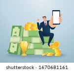businessman holding out hand to ... | Shutterstock .eps vector #1670681161