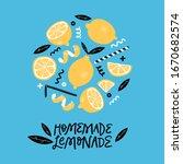 homemade lemonade. hand drawn...   Shutterstock .eps vector #1670682574