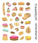 Sweet pastries and baked goods vector set. Bread, cakes, cupcakes, pies illustration isolated on white background