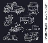 motor hand drawn doodle set.... | Shutterstock .eps vector #1670710234