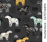 seamless childish pattern with... | Shutterstock .eps vector #1670726854