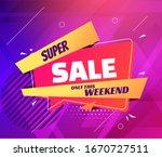 super sale in trendy pop art... | Shutterstock .eps vector #1670727511