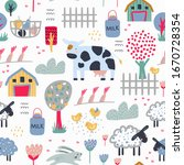childish seamless farm pattern .... | Shutterstock .eps vector #1670728354
