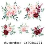 roses  set watercolor flowers...   Shutterstock . vector #1670861131
