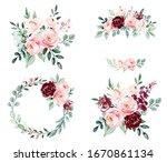 roses  set watercolor flowers... | Shutterstock . vector #1670861134