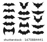 bat symbol set. collection of... | Shutterstock .eps vector #1670884441