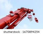 Mobile Crane On Blue Sky...