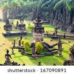 buddha park in vientiane  laos. ... | Shutterstock . vector #167090891