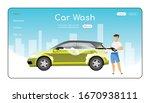car wash landing page flat...