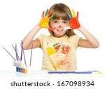 portrait of a cute cheerful... | Shutterstock . vector #167098934