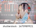 Small photo of Asian man got frustrated and angry after Stock market surge and dramatically fall down as a result of Coronavirus or covid19 fears and world oil price decrease. All world economic get worse