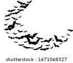 funny black bats swarm isolated ... | Shutterstock .eps vector #1671068527