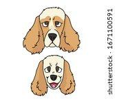 cute cartoon cocker spaniel dog ...   Shutterstock .eps vector #1671100591