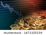 pile of coins on black... | Shutterstock . vector #1671105154