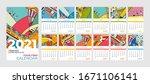 2021 calendar abstract... | Shutterstock .eps vector #1671106141