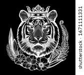 tiger portrait in tropical...   Shutterstock .eps vector #1671111331