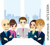 five businesspeople at office... | Shutterstock . vector #167113334