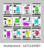 months cards or stickers of... | Shutterstock .eps vector #1671134587