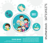 family wearing protective... | Shutterstock .eps vector #1671141271