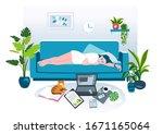 sleeping woman hand drawn flat... | Shutterstock .eps vector #1671165064