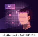 facial recognition technology ... | Shutterstock .eps vector #1671203101