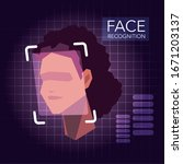 facial recognition technology ... | Shutterstock .eps vector #1671203137