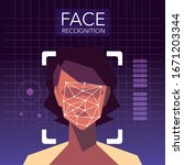 facial recognition technology ... | Shutterstock .eps vector #1671203344
