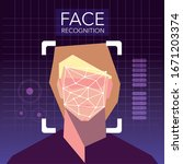 facial recognition technology ... | Shutterstock .eps vector #1671203374