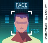 facial recognition technology ... | Shutterstock .eps vector #1671203494