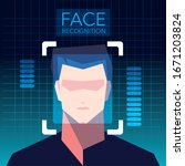 facial recognition technology ... | Shutterstock .eps vector #1671203824