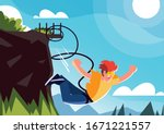 man jumping off with a rope ... | Shutterstock .eps vector #1671221557