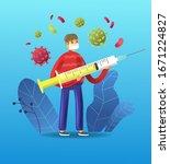 cartoon boy in mask holding a...   Shutterstock .eps vector #1671224827