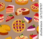 sweet cakes and pies slices... | Shutterstock .eps vector #1671278707