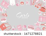 girls accessories and cloths...   Shutterstock .eps vector #1671278821