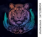 tiger portrait in tropical...   Shutterstock .eps vector #1671288454