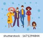dark skin family wearing... | Shutterstock .eps vector #1671294844