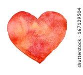 watercolor red heart ... | Shutterstock . vector #167129504